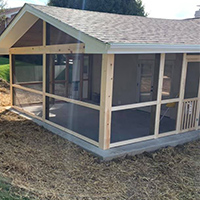 New screened porch patio addition to residential home